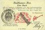 Banknotes Mulhouse (68). Ville. Billet 1 mark 31.8.14 surchargé 1. Cachet allemand nouveau noir. Signé Haby