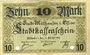 Banknotes Mulhouse (68). Ville. Billet 10 mark 15.10.1918. Annulé par double perforation