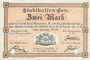 Banknotes Mulhouse (68). Ville. Billet 2 mark 10.9.1914. Annulé par double perforation
