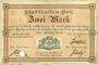Banknotes Mulhouse (68). Ville. Billet 2 mark 10.9.1914. Annulé par perforation