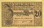 Banknotes Mulhouse (68). Ville. Billet 20 mark 15.10.1918. Non annulé