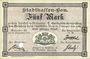 Banknotes Mulhouse (68). Ville. Billet 5 mark 10.9.1914. Annulé par perforation