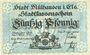 Banknotes Mulhouse (68). Ville. Billet 50 pfennig 1.5.1918. Annulé par cachet « ANNULÉ »