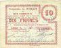 Banknotes Nomain (59). Commune. Billet. 10 francs 27.12.1914, série L