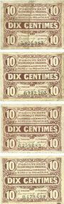 Banknotes Nord (59) et Pas-de-Calais (62). 1er groupement régional. Billets. 10 centimes (4ex)