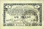 Banknotes Pas de Calais, Somme et Nord, Groupement de 70 communes. Billet. 1 franc 23.4.1915 série 2D
