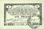 Banknotes Pas de Calais, Somme et Nord, Groupement de 70 communes. Billet. 1 franc 23.4.1915 série 2F