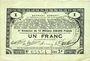 Banknotes Pas de Calais, Somme et Nord, Groupement de 70 communes. Billet. 1 franc 23.4.1915 série 2P