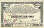 Banknotes Pas de Calais, Somme et Nord, Groupement de 70 communes. Billet. 50 centimes 23.4.1915 série 2A