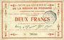 Banknotes Péronne (80). Bon de guerre de la Région de Péronne. Billet. 2 francs 2.9.1915