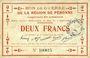 Banknotes Péronne (80). Bon de guerre de la Région de Péronne. Billet. 2 francs