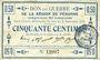 Banknotes Péronne (80). Bon de guerre de la Région de Péronne. Billet. 50 centimes
