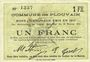 Banknotes Plouvain (62). Billet. 1 franc 10.2.1915, annulé