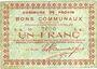 Banknotes Provin (59). Commune. Billet. 1 franc 11.3.1915