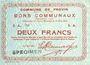 Banknotes Provin (59). Commune. Billet. 2 francs 11.3.1915, SPECIMEN