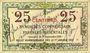 Banknotes Pyrénées Orientales (66). Syndicats Commerciaux. Billet. 25 cmes 1.9.1918, Essai. Ss numérotation..