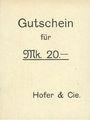 Banknotes Ribeauvillé (Rappoltsweiler) (68). Hofer & Cie. Billet, carton. G de Gutschein droit. 20 mark