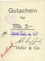 Banknotes Ribeauvillé (Rappoltsweiler) (68). Hofer & Cie. Billet, carton. G de Gutschein droit. 3 mark