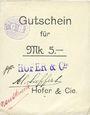 Banknotes Ribeauvillé (Rappoltsweiler) (68). Hofer & Cie. Billet, carton. G de Gutschein droit. 5 mark