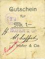 Banknotes Ribeauvillé (Rappoltsweiler) (68). Hofer & Cie. Billet, carton. G de Gutschein enroulé. 1 mark