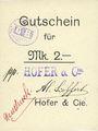 Banknotes Ribeauvillé (Rappoltsweiler) (68). Hofer & Cie. Billet, carton. G de Gutschein enroulé. 2 mark