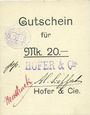 Banknotes Ribeauvillé (Rappoltsweiler) (68). Hofer & Cie. Billet, carton. G de Gutschein enroulé. 20 mark