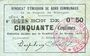 Banknotes Rimogne (08). Syndicat d'Emission. Billet. 50 centimes 20.2.1916, série B