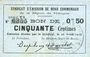 Banknotes Rimogne (08). Syndicat d'Emission. Billet. 50 centimes 26.4.1917, série T1