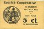 Banknotes Roanne (42). Société Coopérative La Solidarité. Billet. 5 centimes
