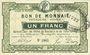 Banknotes Roubaix et Tourcoing (59). Billet. 1 franc, 2e série. N° 1065