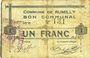 Banknotes Rumilly (59). Commune. Billet. 1 franc, 28.11.1915, 1ère série