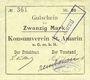 Banknotes Saint-Amarin. Konsumverein. Billet. 20 mark (22.9.1914). Signatures. : L. Vuillard et Eug Kühner