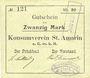 Banknotes Saint-Amarin. Konsumverein. Billet. 20 mark (22.9.1914). Signatures. : L. Vuillard et Paul Diemusch