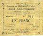 Banknotes Saudemont (62). Commune. Billet. 1 franc, émission 1915, série A