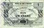 Banknotes Selvigny (59). Société des Bons d'Emission. Billet. 1 franc, série 13