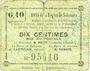 Banknotes Solesmes (59). Bons de la Région. Billet. 10 centimes, 4e émission