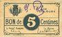 Banknotes Toulouse (31). Ville. Billet. 5 centimes