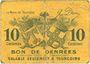 Banknotes Tourcoing (59). Ville - Bon de Denrées. Billet. 10 centimes, série DG 1