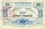 Banknotes Viesly (59). Société des Bons d'Emission. Billet. 20 francs, série 1
