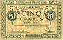 Banknotes Wattrelos (59). Ville. Billet. 5 francs, série B-1