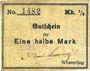 Banknotes Wesserling. Cros Roman & Cie. Billet. ½ mark. Annulé