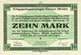 Banknotes Allemagne. Golzern. Kriegsgefangenenlager. Billet. 10 mark 1.2.1916, sans cachet