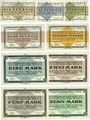 Banknotes Allemagne. Golzern. Kriegsgefangenenlager. Billets. 1, 2, 5, 10, 50 pf, 1, 2, 5, 10 mk 1.2.1916