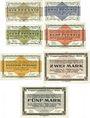 Banknotes Allemagne. Golzern. Kriegsgefangenenlager. Billets. 1, 2, 5, 10, 50 pf, 2, 5 mk 1.2.1916