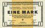 Banknotes Allemagne. Königsbrück. Kriegsgefangenenlager - Truppenplatz Königsbrück. Billet. 1 mark 1.12.1917