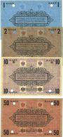 Banknotes Plassenburg. Offizier- Gefangenenlager. Billets. 1 mk, 2 mk, 10 mk, 50 mk annulation par perforation