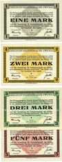 Banknotes Zwickau. Kriegsgefangenenlager. Série de 4 billets. 1 mark,  2 mark, 3 mark, 5 mark 1.1.1916