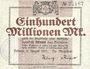 Banknotes Allemagne. Dülmen. Stadt. Billet. 100 millions mark 11.8.1923