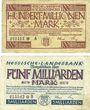 Banknotes Allemagne. Hessische Landesbank. Darmstadt 1923. Billets. 100 millions, 5 milliards de mk 1.10.1923