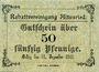Banknotes Altusried. Rabattvereinigung. Billet. 50 pfennig (bis 31.12.1918)
